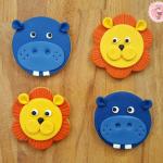 Galletas de animales de la selva, hipopótamo y león